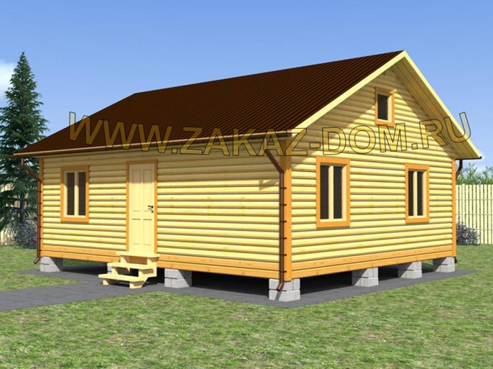 Одноэтажный Дом из бруса (7х8 м) - Проект № Д-16 56м2  Дом из Бруса 7х8